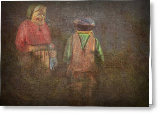 Concern Digital Art Greeting Cards - The Old Couple - Late Again Greeting Card by Terry Fleckney