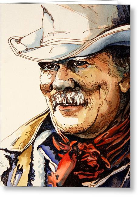 Twinkle Mixed Media Greeting Cards - The Old Cowpoke Greeting Card by Lynda Dorris