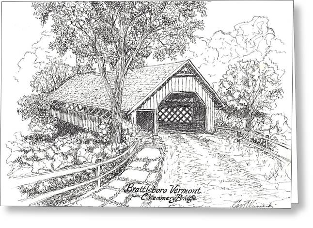 Old And New Mixed Media Greeting Cards - The Old Creamery Bridge Brattleboro VT Pen Ink Greeting Card by Carol Wisniewski