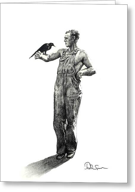 Overalls Drawings Greeting Cards - The Old Crow Greeting Card by Todd Spaur