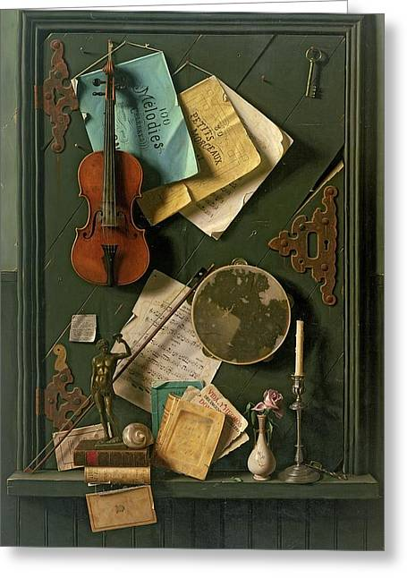 Violin Bows Violin Bows Greeting Cards - The Old Cupboard Door, 1889 Greeting Card by William Michael Harnett
