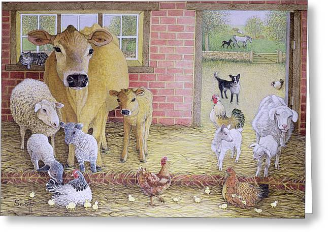 Cattle Greeting Cards - The Old Days Oil On Canvas Greeting Card by Pat Scott