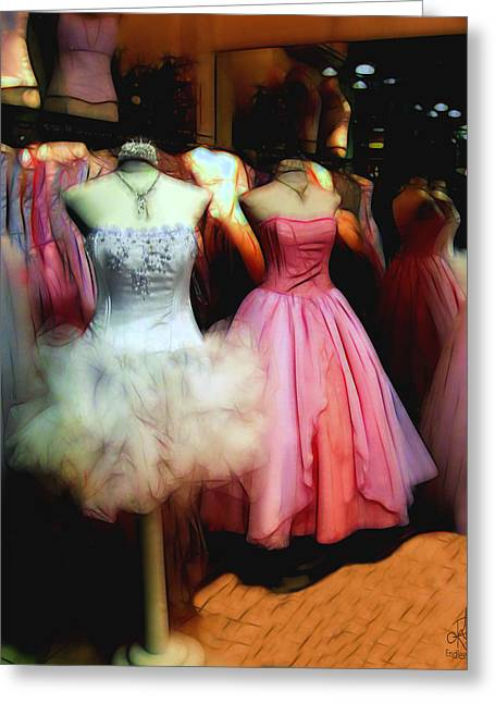 Ball Gown Photographs Greeting Cards - The Old Dress  Shop Greeting Card by Pennie  McCracken