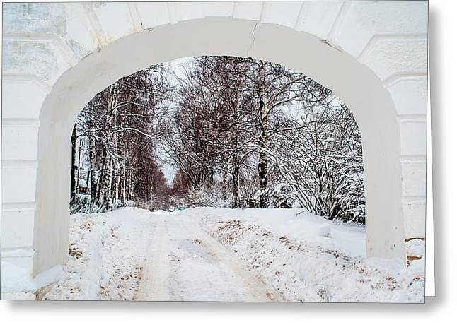 First Snow Greeting Cards - The Old Entrance to the Homestead Karabicha 1. Russia Greeting Card by Jenny Rainbow