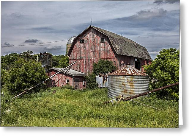 40mm Greeting Cards - The Old Farm Greeting Card by CJ Schmit