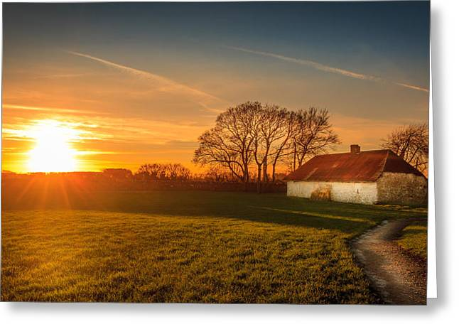 Sunset Prints Of Ireland Greeting Cards - The Old Farm House Greeting Card by John Hurley