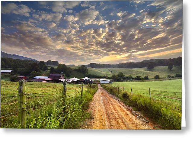 Smoky Greeting Cards - The Old Farm Lane Greeting Card by Debra and Dave Vanderlaan
