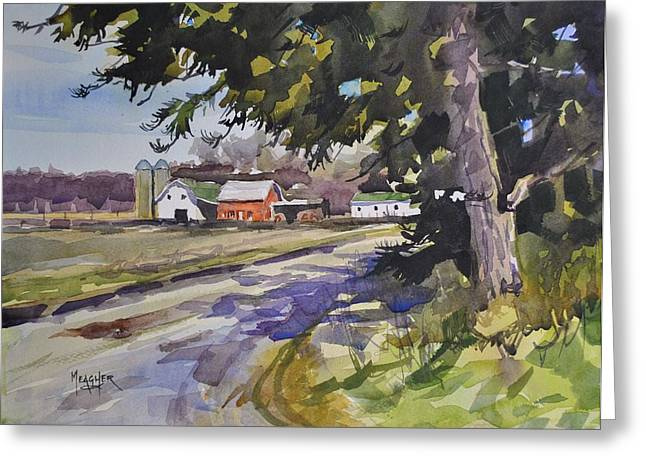 Amish Farm Greeting Cards - The Old Farm Lane Greeting Card by Spencer Meagher
