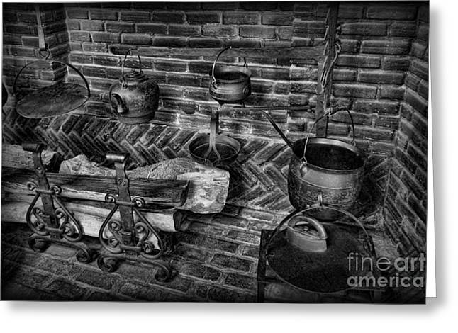 Firepit Greeting Cards - The Old Fireplace Greeting Card by Lee Dos Santos