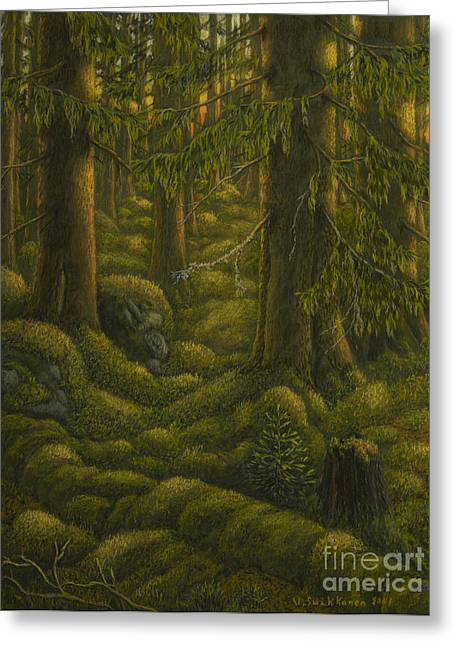 Moss Green Pastels Greeting Cards - The old forest Greeting Card by Veikko Suikkanen