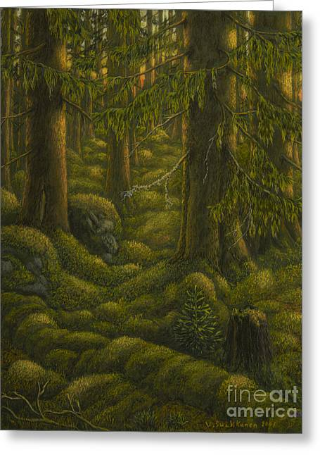 The Old Forest Greeting Card by Veikko Suikkanen