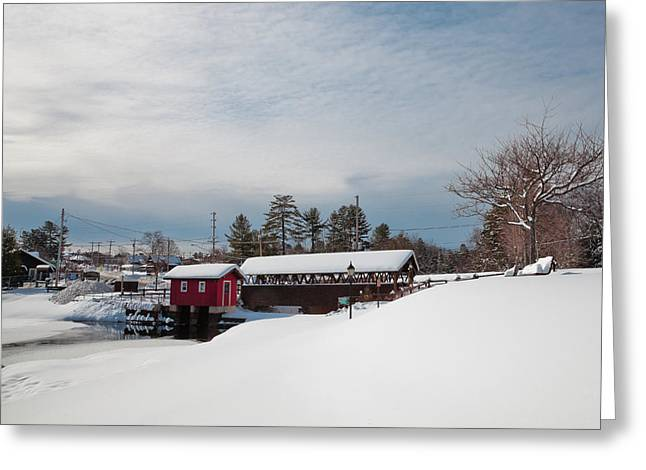 Snow-covered Landscape Photographs Greeting Cards - The Old Forge Covered Bridge Greeting Card by David Patterson