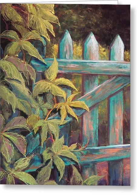 Gate Pastels Greeting Cards - The Old Gate Greeting Card by Candy Mayer