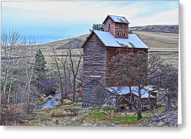 Kinkade Greeting Cards - The Old Grain Storage Greeting Card by Steve McKinzie