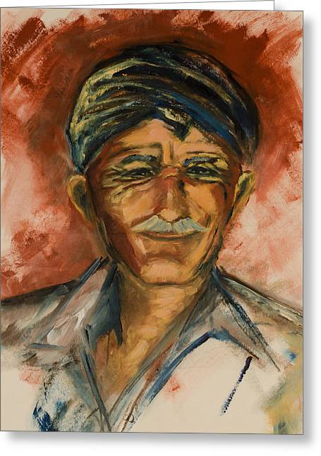 Moustache Greeting Cards - The Old Greek Man Greeting Card by Elise Palmigiani