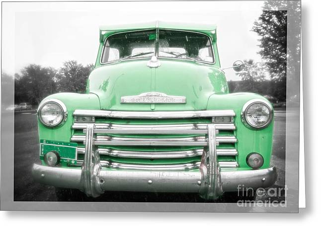 Umbrellas Greeting Cards - The Old Green Chevy Pickup Truck Greeting Card by Edward Fielding