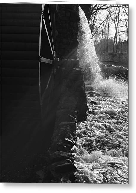 Wayside Inn Greeting Cards - The Old Grist Mill - Black and White Greeting Card by Luke Moore
