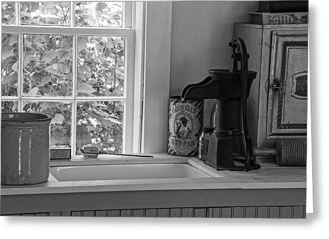 Water Jars Greeting Cards - The Old Hand Pump Greeting Card by Wayne Stabnaw