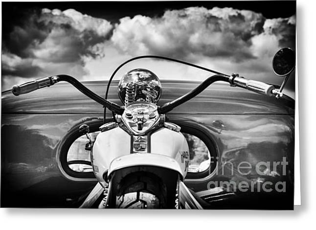 Handlebar Greeting Cards - The Old Harley Monochrome Greeting Card by Tim Gainey