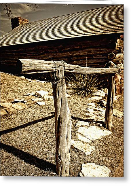 Recently Sold -  - Log Cabins Greeting Cards - The Old Hitching Post Greeting Card by Lincoln Rogers
