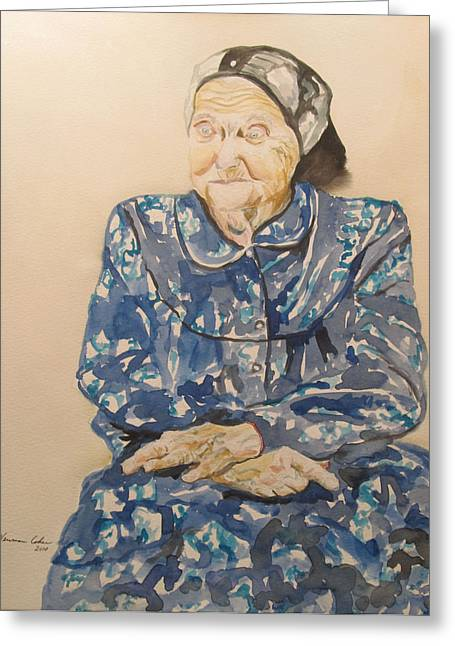 Survivor Art Greeting Cards - The Old Holocaust Survivor Greeting Card by Esther Newman-Cohen