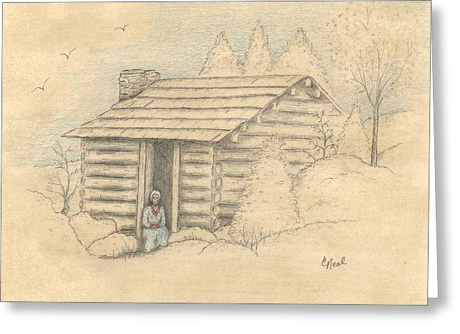Old Cabins Drawings Greeting Cards - The Old Homeplace Greeting Card by Carol Neal