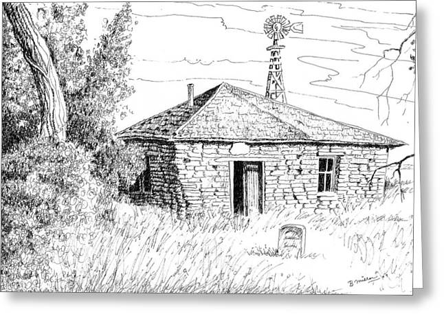 Tombstone Drawings Greeting Cards - The Old Homestead Greeting Card by Bern Miller