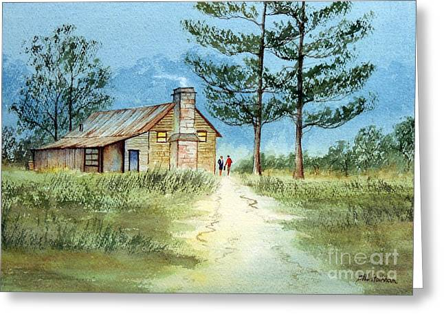 Historical Images Paintings Greeting Cards - The Old Homestead Greeting Card by Bill Holkham
