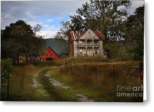 Red Roofed Barn Greeting Cards - The Old Homestead Greeting Card by T Lowry Wilson