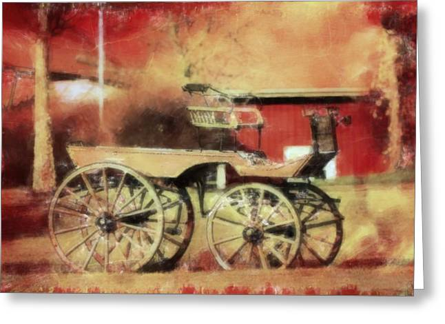 Ranch Mixed Media Greeting Cards - The old horse cart Greeting Card by Toppart Sweden