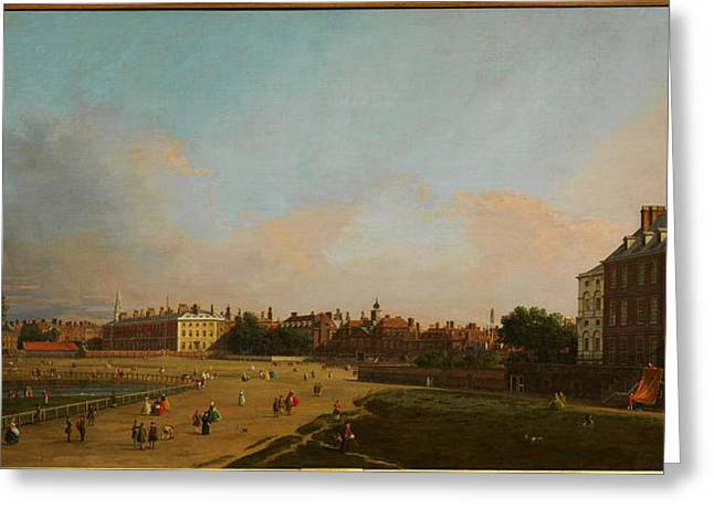 Park Scene Paintings Greeting Cards - The Old Horse Guards from St James s Park Greeting Card by Celestial Images