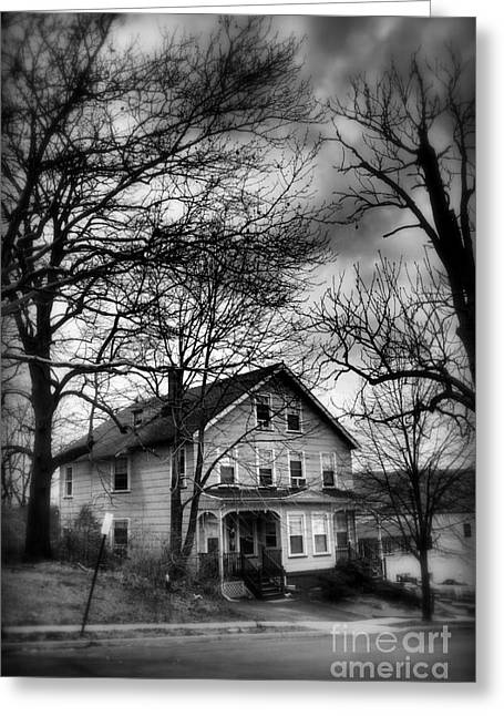 Historic Home Greeting Cards - The Old House Down the Street Greeting Card by Miriam Danar