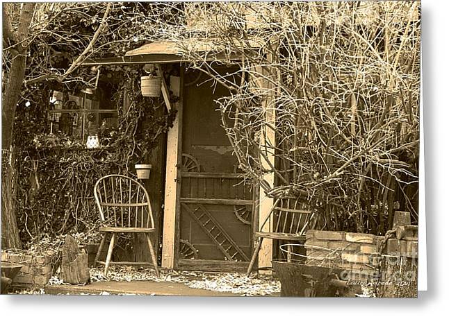 Old Fashoined Greeting Cards - The Old House in Genoa Nevada Greeting Card by Artist and Photographer Laura Wrede