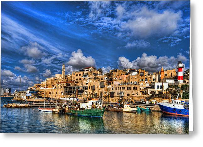 Holy Digital Greeting Cards - the old Jaffa port Greeting Card by Ron Shoshani