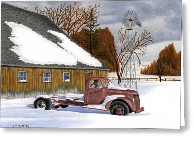 Old Barn Drawing Greeting Cards - The Old Jalopy Greeting Card by Sarah Batalka