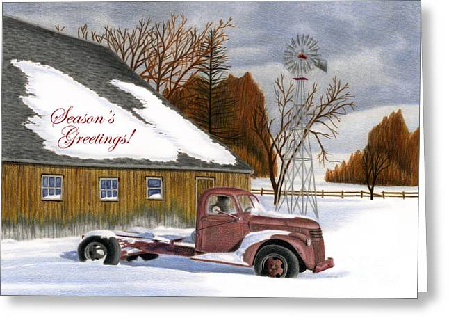 Old Barn Drawing Greeting Cards - The Old Jalopy- Seaons Greetings Greeting Card by Sarah Batalka