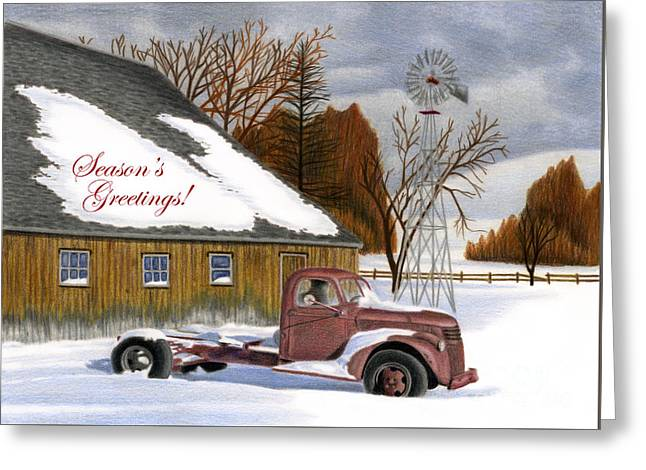 Old Barns Drawings Greeting Cards - The Old Jalopy- Seaons Greetings Greeting Card by Sarah Batalka