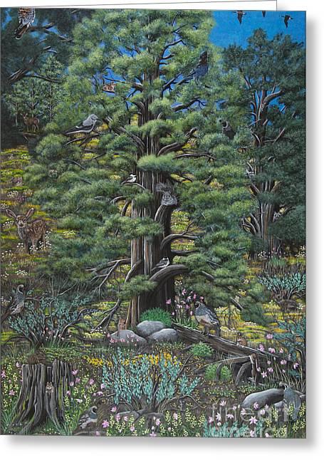 Stellar Paintings Greeting Cards - The Old Juniper Tree Greeting Card by Jennifer Lake