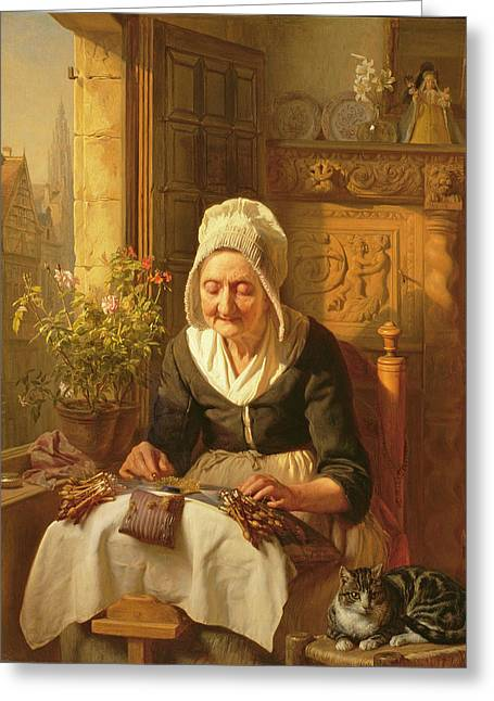 The Old Lacemaker Greeting Card by JL Dyckmans
