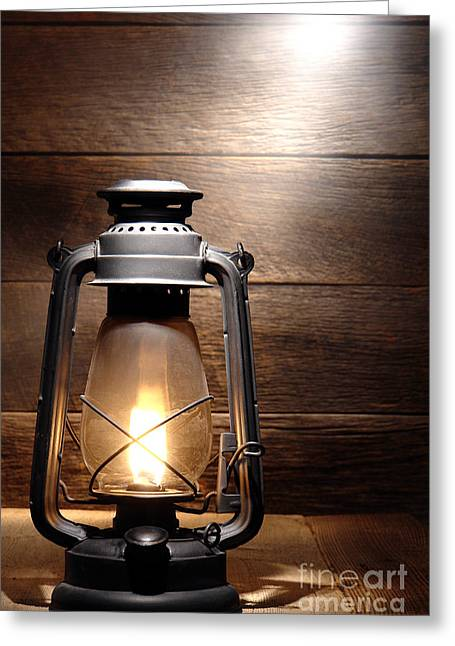 Kerosene Lamp Greeting Cards - The Old Lamp Greeting Card by Olivier Le Queinec
