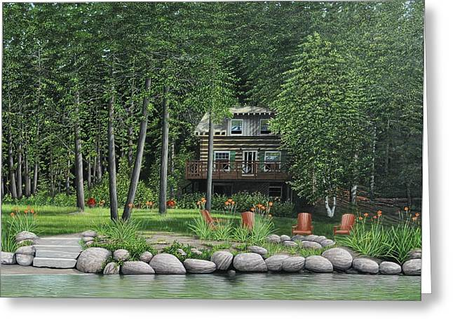 Log Cabins Greeting Cards - The Old Lawg Caybun On Lake Joe Greeting Card by Kenneth M  Kirsch