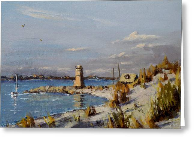 Breezy Greeting Cards - The Old Lighthouse at Rockaway Point Greeting Card by Thomas Kearon