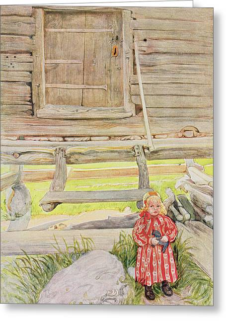 Log Cabins Greeting Cards - The Old Lodge, From A Commercially Greeting Card by Carl Larsson