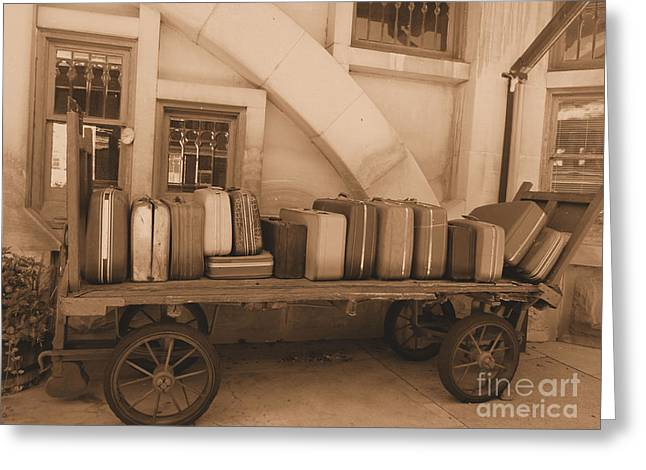 French Lick Indiana Greeting Cards - The Old Luggage Cart Greeting Card by Kathryn Smith