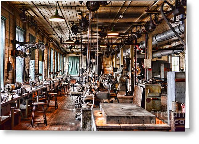 Belt Driven Greeting Cards - The Old Machine Shop Greeting Card by Paul Ward