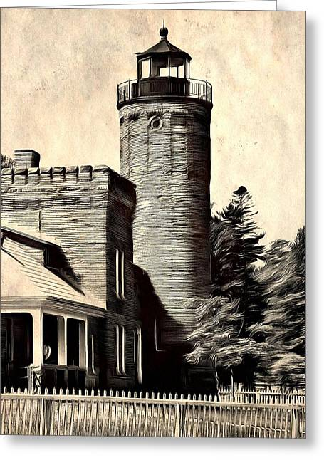 Old Structure Greeting Cards - The Old Mackinac Point Lighthouse Greeting Card by Dan Sproul