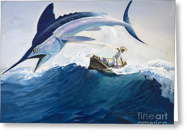 Line Paintings Greeting Cards - The Old Man and the Sea Greeting Card by Harry G Seabright