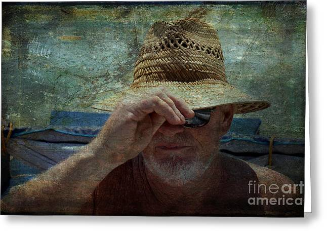 Character Portraits Greeting Cards - The Old Man and the Sea Greeting Card by Janice Rae Pariza