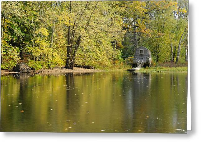Reflections Of Trees In River Photographs Greeting Cards - The Old Manse Boathouse Greeting Card by Luke Moore
