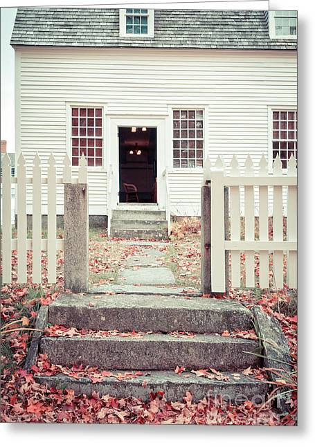 Stone Steps Greeting Cards - The Old Meeting House Canterbury Shaker Village Greeting Card by Edward Fielding